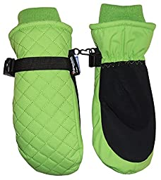 N\'Ice Caps Kids Thinsulate and Waterproof Quilted Ski Mittens (2-3yrs, Neon Green)