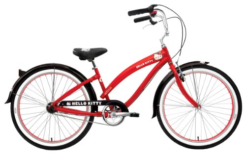 Nirve Retro Kitty Ladies 3 speed Bicycle (Red, 26-Inch)