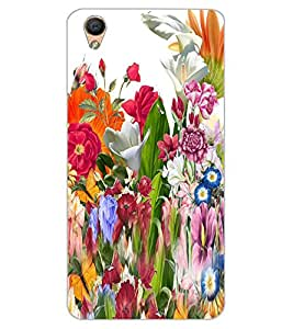 ColourCraft Beautiful Flower Bunch Design Back Case Cover for OPPO F1 PLUS