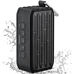 Arespark Outdoor Bluetooth 4.0 Speaker with 12 Hours Playtime, 7W Dual Stereo Bass Radiator, IPX4 Waterproof, NFC, SD/TF card Play, Black