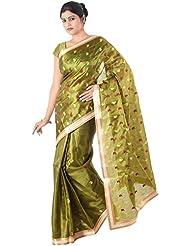 IndusDiva Women's Olive Green Faux Khadi Saree [Apparel]