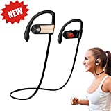 KNONEW Bluetooth Headphone - Wireless Bluetooth Headphones Sweat-proof earpiece design, portable and lightweight for Gym,Exercise,Sports,Running,Microphone for Smart Cellphone and Other Devices(Gold)