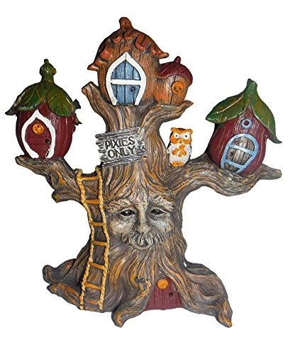 """Giftcraft Miniature Fairy Garden 5.5"""" Enchanted Forest Pixie Tree House"""