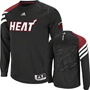 NBA Miami Heat On-Court Shooter Long Sleeve Performance T-Shirt - Black by adidas
