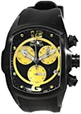 Lupah Chronograph Stainless Steel Case Black and Yellow Tone Dial Rubber Bracelet