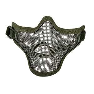 2 X Airsoft War Game Half Face Guard Mesh Mask Protector Olive Green