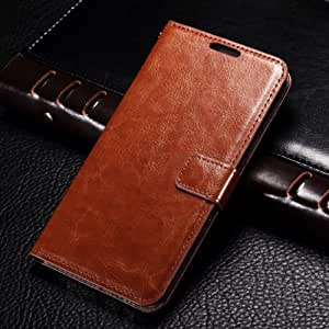 YOUTHADDA Synthetic leather Wallet Magnet Design Flip Case Cover for Samsung Galaxy J2 - Brown