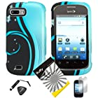 4 items Combo: ITUFFY (TM) LCD Screen Protector Film + Mini Stylus Pen + Case Opener + Design Rubberized Snap on Hard Shell Cover Faceplate Skin Phone Case for ZTE Fury N850, ZTE Director N850L, and ZTE Valet Z665C, Android Smartphone (Blue Aurora Wave)