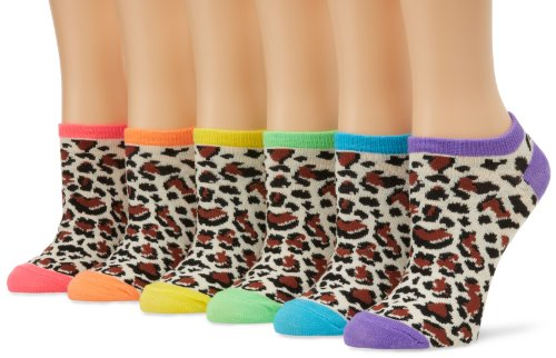 K. Bell Women's 6 Pack Novelty Crew Socks, Digital Cheetah, 9-11