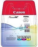 Canon CLI-521 Cartouche d'encre d'origine Pack de 3 Cyan, Magenta, Jaune
