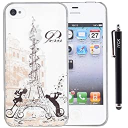 iPhone 4 Case, iPhone 4S Case, iYCK 3D Handmade Clear Bling Crystal Rhinestone Diamond Hard Plastic Snap On Shell Back Skin Case Cover for iPhone 4 / 4S - Paris Music Note Eiffel Tower