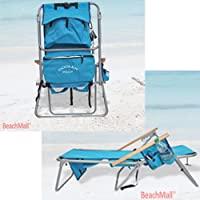 High Back Steel 5 pos. LayFlat Backpack Beach Chair Rio Colors SC: Light Blue -Cooler Pouch, 5 pos LayFlat from Rio Brands
