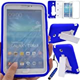 GLITZY GIZMOS BLUE SHOCK PROOF BUILDERS HEAVY DUTY TOUGH CASE COVER FOR SAMSUNG GALAXY TAB 3 7.0 inch (P3200 / P3210 / SM-T210 / SM-T211 / SM-T215) LTE WIFI 7