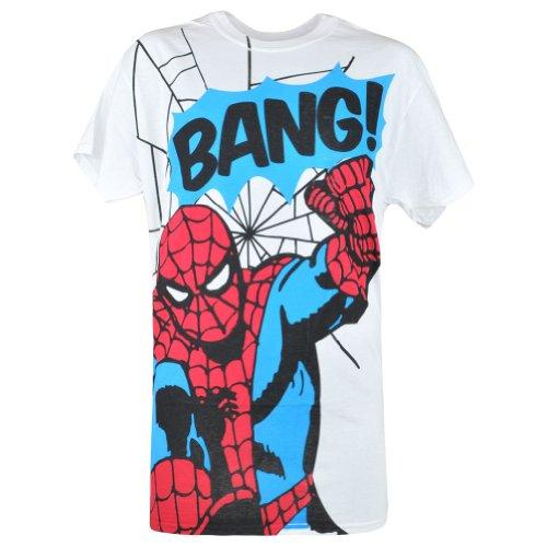 Spider-Man Marvel Comics Web Slinger Cartoon Novelty Mens White Tshirt Small