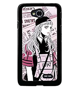 Fuson Premium Modern Girl Metal Printed with Hard Plastic Back Case Cover for LG L70