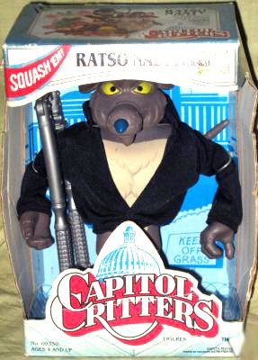"Kenner 1992 6"" Capitol Critters Ratso Nasty the Evil Rat Figure - 1"