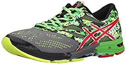 ASICS Men\'s Gel-Noosa Tri 10 Running Shoe,Carbon/Fiery Red/Green,10.5 M US