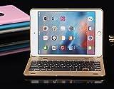 ipad mini 4 Bluetooth キーボード 【KuGi】 ipad mini4 2015モデル 対応 キーボード ケース 一体型 ワイヤレス カバー (ipad mini 4, ゴールド)