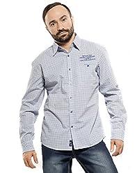 Mavango Men's Slim Fit Cotton Casual Shirt (M42204C61CC_Blue_Small)