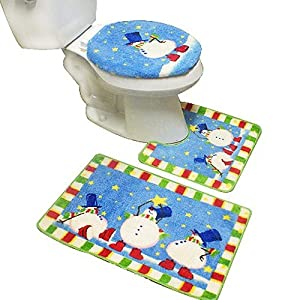 Amazon.com - New 3pcs Snowman Bath Mat Contour Set, Christmas Bath