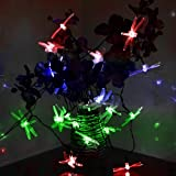 Innoo Tech Dragonfly Outdoor String Lights Solar Powered 20 Led Fairy Light for Garden Party Wedding Christmas Multi Color