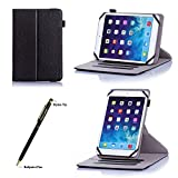 """ProCase Universal Rotating Folio Case for 7 - 8 inch Tablet, Leather 360 Rotation Stand Case Cover with Multi-angle Stand for 7"""" 8"""" Touchscreen Tablet, Chromo Inc, Nextbook, RCA, Dragon Touch, Toshiba, ProntoTec, Alldaymall, Acer, iView, ASUS, Dell, HP, iPad mini, Nexus, Galaxy Tab, Android tablet, with a bonus procase stylus pen (Black)"""
