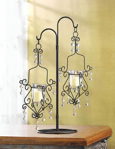 Crystal Drop Candle Holder Vintage Hanging With Stand 0