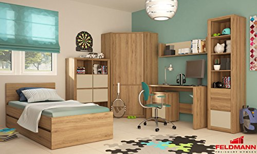 jugendzimmer kinderzimmer 17800 komplett 7 teilig wildeiche farbe frontapplikation w hlbar. Black Bedroom Furniture Sets. Home Design Ideas