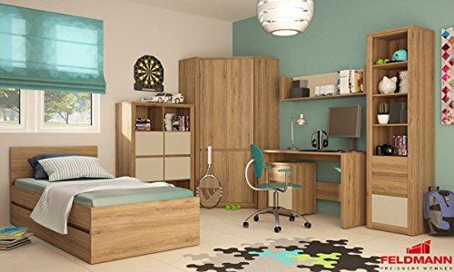 Jugendzimmer Kinderzimmer 17800 komplett 7-teilig wildeiche – Farbe Frontapplikation wählbar (vanille) jetzt bestellen