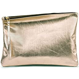 Leah Lerner Women Leather Clutch Gold