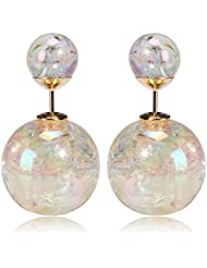 Celebrity Inspired AB Colour Cracked Glass Double Bubbles Earring By Via Mazzini