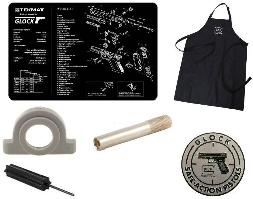 Ultimate Arms Gear Official Glock Bundle Tactical Package Kit Includes - Glock Perfection Apron + Glock Safe Action Aluminum Sign + Cleaning Work Tool Bench Pistol Gun Mat + Recoil Spring & Slide Impact Cushion Buffer + Pro Disassembly 3/32 Punch Armorers Gunsmith Takedown Tool + 1.5