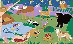 3X5 Kids Educational Rug Animal Camp Jungle Zoo Bear Moose Owl Moon 3\'3\