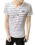 Youchan(ヨウチャン) Tシャツ メンズ 半袖 ボーダー ストライプ マリン カットソー スタンダード 夏 サマー バスクシャツ V首 Vネック 着心地 着回し インナー カジュアル トップス (2XL, ホワイト×黒)