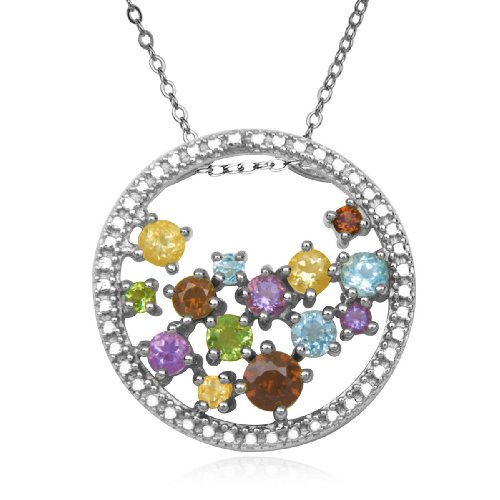 Sterling Silver Multi-Gemstone and Diamond Circle Pendant Necklace , 18