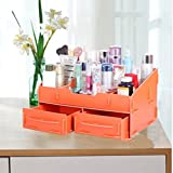 ZT0094 DIY Personality Stylish Wooden Collapsible Office Supplies Desk Drawer Portable Cosmetics Storage Organizer with 5 Compartments (Orange)