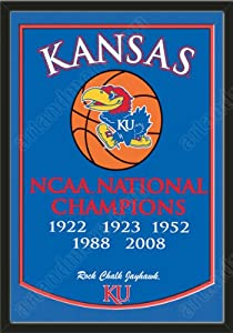 Dynasty Banner Of Kansas Jayhawks With Team Color Double Matting-Framed Awesome &... by Art and More, Davenport, IA