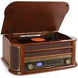 Auna RM1-Belle Epoque 1908 - Chaine rétro stéréo multifonction avec lecteur CD et K7, platine vinyle, enregistrement MP3 et radio (USB, tuner AM/FM) - Bois et tissu vintage
