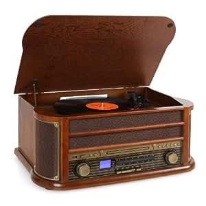 Auna RM1-Belle Epoque 1908 - Chaine stéréo rétro multifonction avec platine vinyle, lecteur CD et K7, radio et enregistrement MP3 (USB, AUX, tuner AM/FM) - Bois et tissu vintage