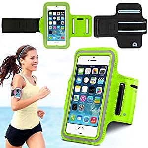 iLite iPhone 5/5s Sports Running Armband Case Cover with Adjustable Velcro Strap & Key Pocket | for Cycling Run Jogging Fitness Training Exercise Sports Gym | Apple iPhone 5 Cases Covers and Accessories (Green)