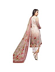 Beige Floral Print Work Party Wear Pakistani Salwar Suit In Cotton Satin Semi Stitched Dress Material