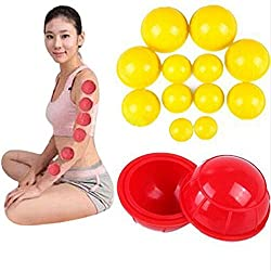 New 12pcs/set Family Body Massage Helper Anti Cellulite Vacuum Silicone Cupping Cups Chinese Medical Cupping (Random Color)