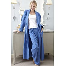 The Irish Linen Store Womens Tilly Soft Brushed Cotton Pajama Trouser Blue