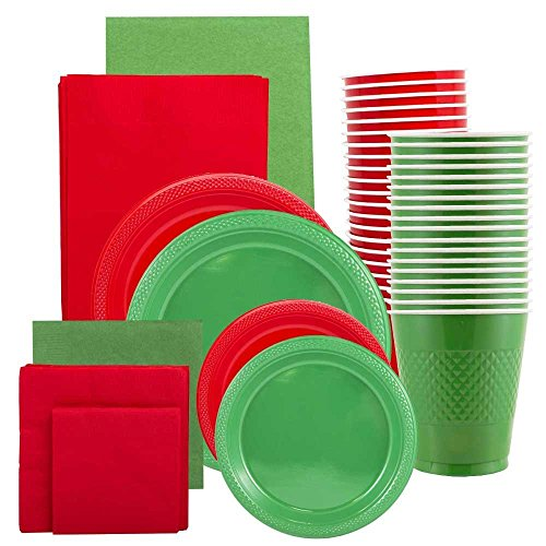 JAM Paper Party Supply Assortment - Red & Green Grad Pack - Plates (2 Sizes), Napkins (2 Sizes) , Cups & Tablecloths - 12/pack