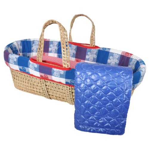 Tadpoles Limited Edition Moses Basket Set, Blue/Red W/Blue Blanket