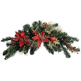 WeRChristmas - Ghirlanda natalizia decorativa a forma di arco, diametro: 60 cm, colore: Rosso/Oro