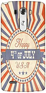 Snoogg Independence Day Greeting Card In Vintage Style Designer Protective Back Case Cover For LG G3