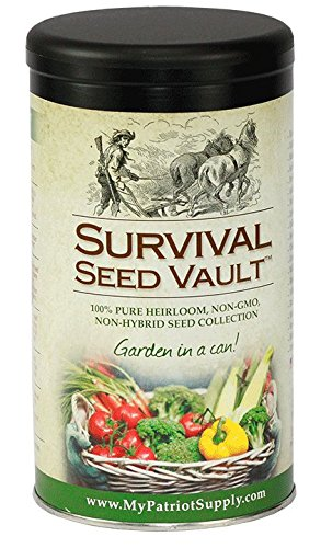 Survival Seed Vault Non-GMO Hardy Heirloom Seeds for Long-Term Emergency Storage - 20 Variety Pack in a Sturdy Can