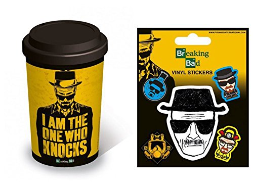 Set: Breaking Bad, Sono Io Che Busso Alla Porta, In Inglese Tazza Da Caffè Mug (15x10 cm) e 1 Breaking Bad, Sticker Adesivo (12x10 cm)