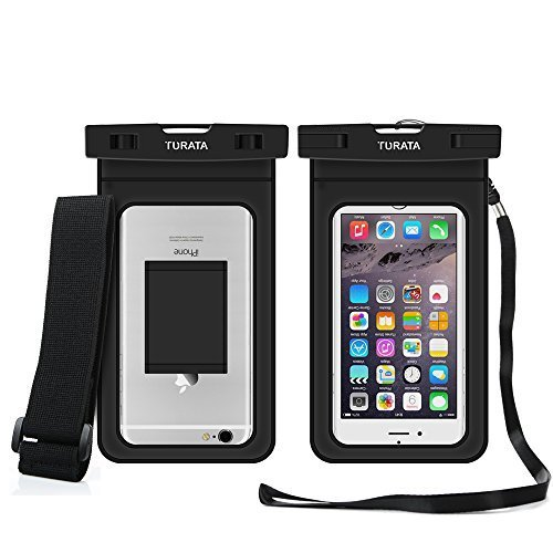Waterproof Case Dry Bag with Armband for iPhone 6, 6 plus, 6s, 6s plus, 5, 5s, Samsung Galaxy s7,s7 edge[Up to 6.0] Eco-Friendly PVC construction Pouch & IPX8 Certified to 100 Feet by TURATA (Black)
